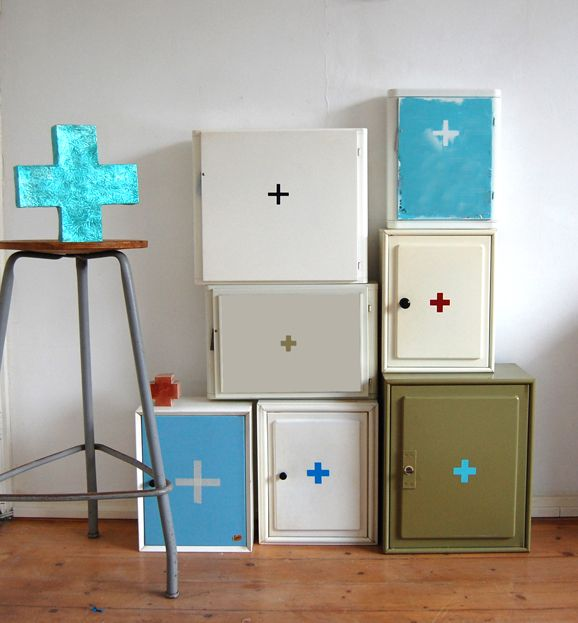 Idea Inspiration – Just keep finding and installing a hodgepodge of free cabinets for a cheap yet organized garage.  Optional: Paint them all the same color to make it look more uniform.