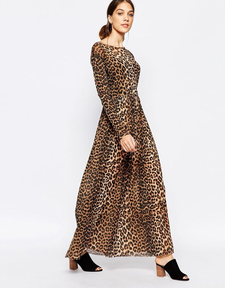 Image 1 ofGanni Maxi Dress in Mesh Leopard