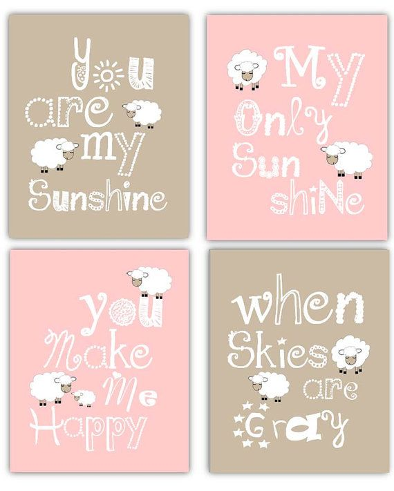 Lamb Decor for Nursery, Art for Nursery Lambs, Kids wall Art, You are my Sunshine with Lamb, set of four Prints, Children's Wall Art
