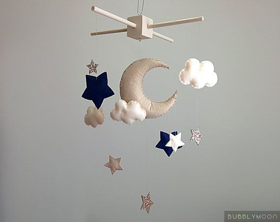 MADE TO ORDER Please check my shop announcement or ask for the current turnaround time.  »-› Moon, stars & clouds baby mobile »-› All completely hand