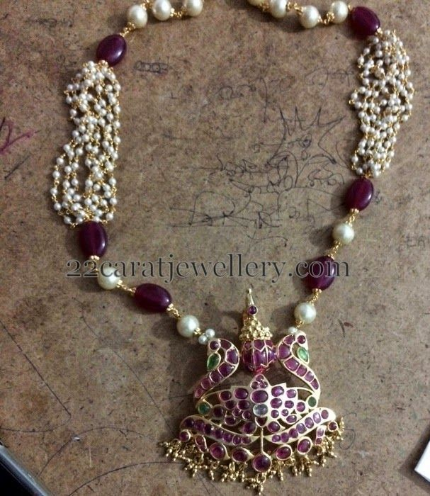 1 Gram Gold Beads Chains with Earrings | Jewellery Designs