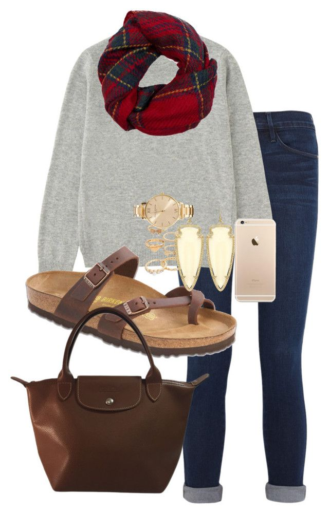 """FALLing for Birks"" by judebellar03 ❤ liked on Polyvore featuring Frame Denim, Uniqlo, Fevrie, Birkenstock, Longchamp, Mudd, Kendra Scott and Olivia Burton"