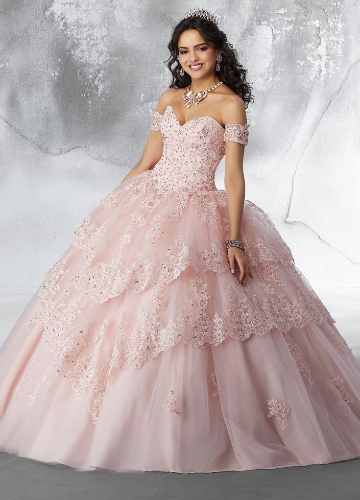 quinceanera dresses lace quince pretty strapless lee mori vizcaya skirt turquoise formal trim abcfashion sold