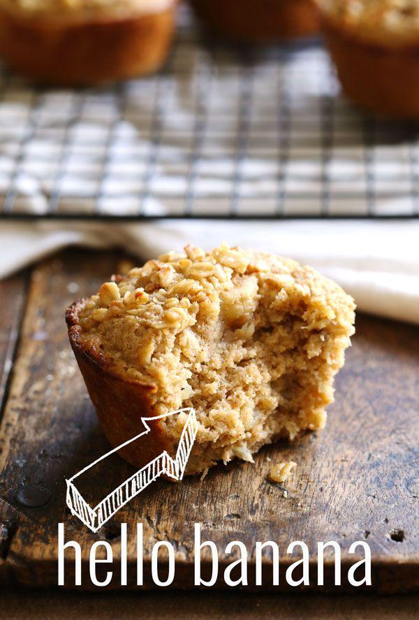 Caramelized Banana Oat Muffins: a simple, healthy breakfast! 280 calories. | pinchofyum.com
