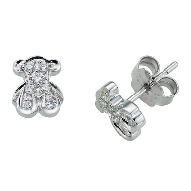 """18kt white gold and diamond TOUS Sweetie earrings. Friction back. Total carat weight 0.13ct. Bear: 7.5mm. - 5/16"""".TOUS WASHINGTON DC"""