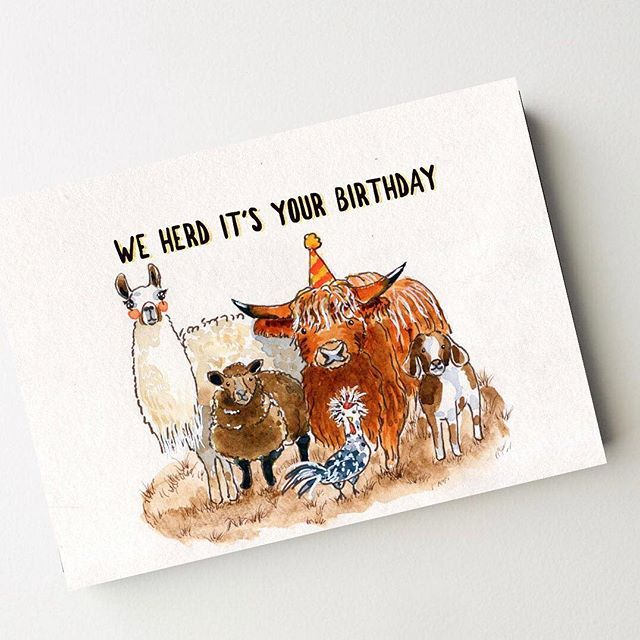 We Herd It S Your Birthday A Funny Farm Animal Birthday Card