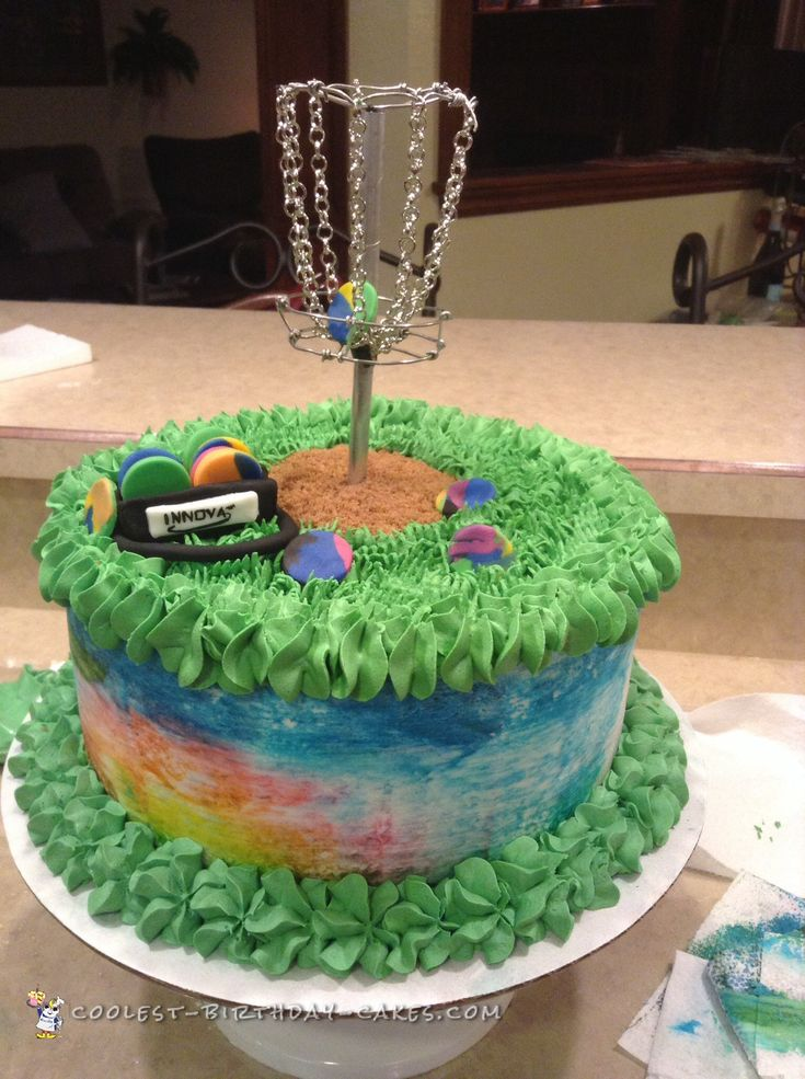 tie dye disc golf cake - Birthday Cake Decorations