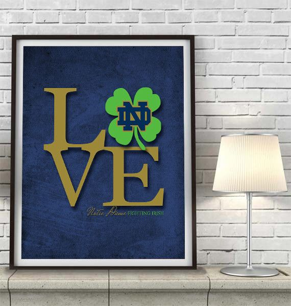 "Notre Dame Fighting Irish UND inspired ""Love"" ART PRINT, Sports Wall Decor, man cave gift for him, Unframed"