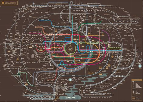 Tokyo railway map--gorgeous. Check out Seoul and Osaka too!
