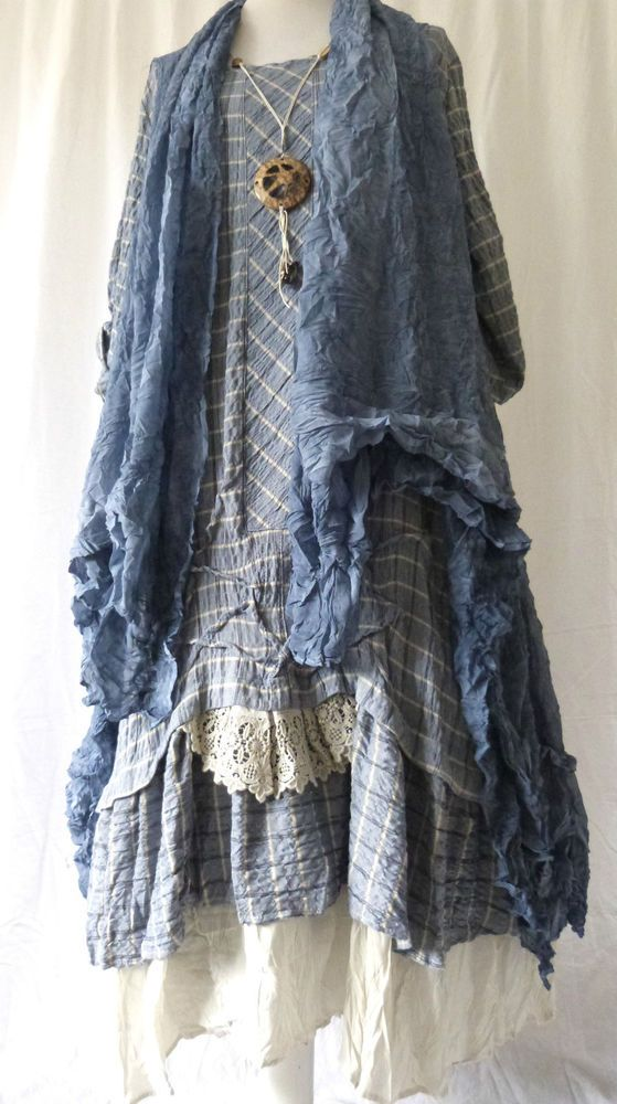 FAB GERMAN ZEDD.PLUS quirky/lagenlook blUE check RUFFLE FRILL dress L/XL