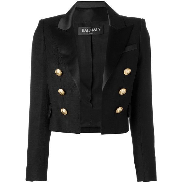 Balmain open front cropped blazer (€1.990) ❤ liked on Polyvore featuring outerwear, jackets, blazers, balmain, black, long sleeve blazer, long sleeve crop jacket, blazer jacket, cropped blazer jacket and long sleeve jacket