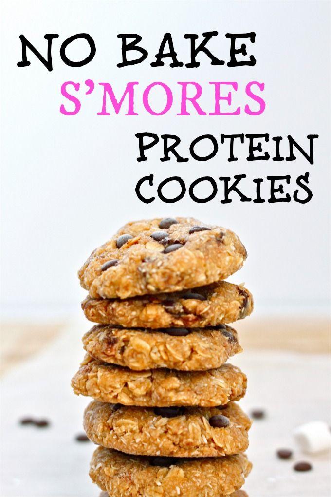 No Bake Smores Protein Cookies