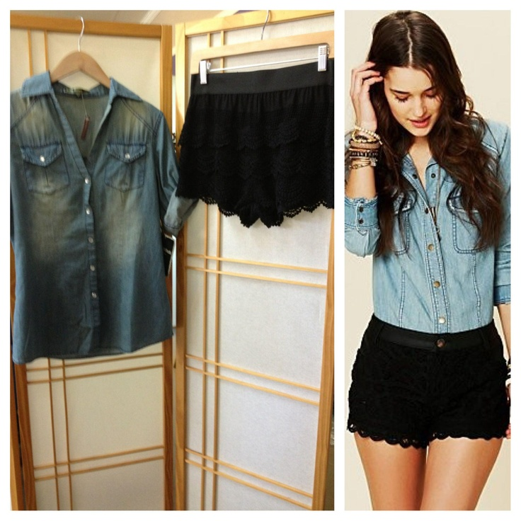 We have the EXACT same outfit! Our black lace shorts are $45.00, and the denim top is $56.00! http://www.8thstreetboutique.com