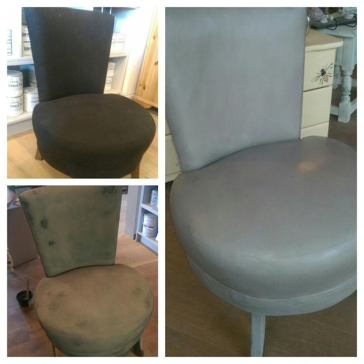 A black fabric chair painted in French Linen Chalk Paint™ by Annie Sloan and finished with Clear Wax!  Now feels like leather!