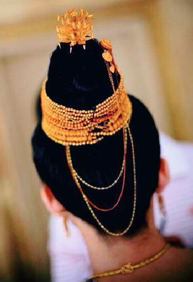 Traditional Lao Wedding Hair Detail Shot