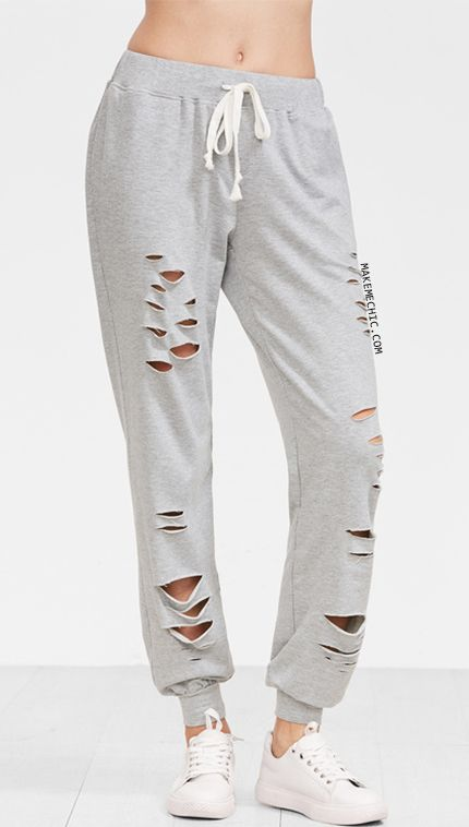 Heather Grey Distressed Drawstring Sweatpants