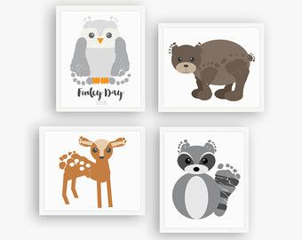 Owl Nursery Art Print Baby Footprint Art by PitterPatterPrint