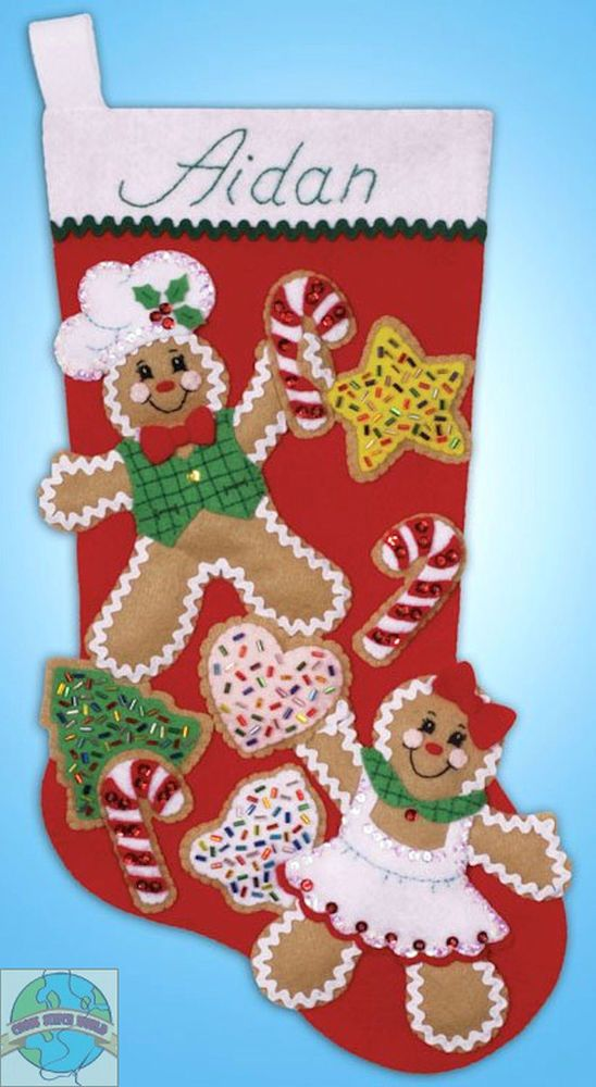 Felt Embroidery Kit Design Works Gingerbread Friends Christmas Stocking DW5240