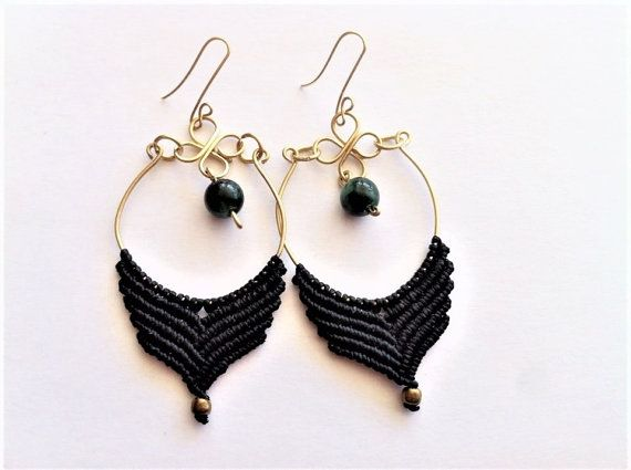 earrings macrame earings hoop earrings gypsie von PositivaJewelry
