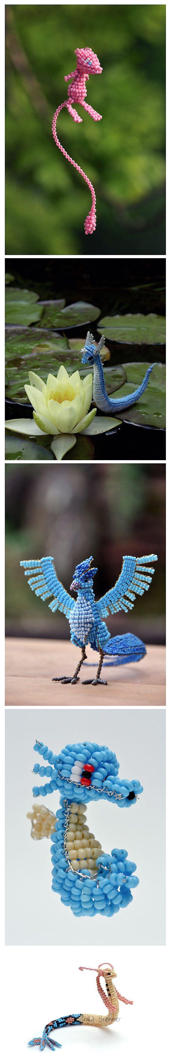 Figuras de pokémon con cuentas de abalorios.