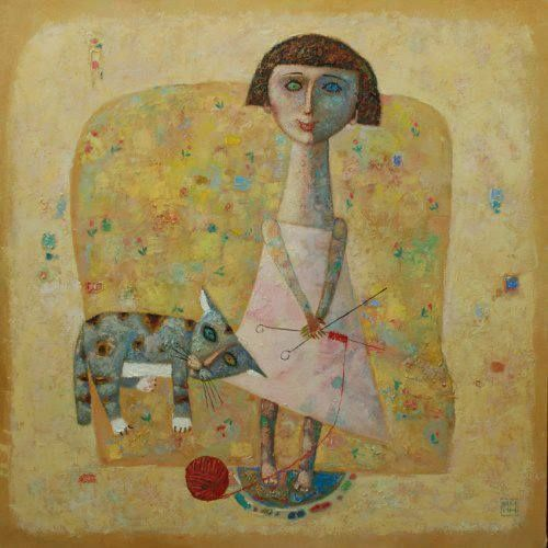 Woman Knitting w. Cat, Alexander Yanin   /   W&C