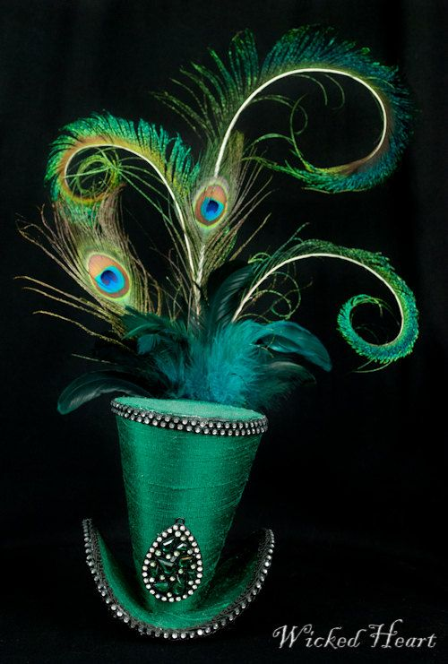 Mad Hatter Mini Top Hat Emerald Green Silk by Wickedheart on Etsy