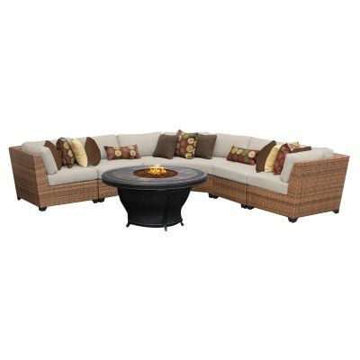 Outdoor TK Classics Laguna Wicker 6 Piece Patio Conversation Set With Fire  Pit Table And 2 Sets Of Cushion Covers   LAGUNA 06E BEIGE | Patio  Conversation ...