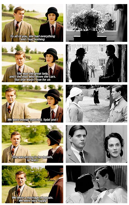 "♢tom branson ♢allen leech ♢mary crawley ♢michelle dockery ♢downton abbey ♢s6 ♢spoilers ♢605 ♢the bransons  ... ""We were a marriage of equals. Were very happy."" .."