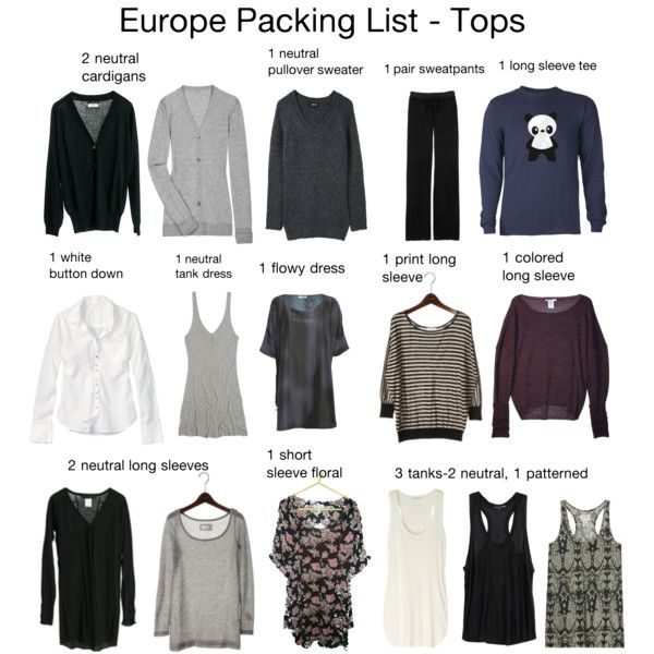 """""""Europe Packing List - Tops (mostly)"""" by bitchassnation on Polyvore"""