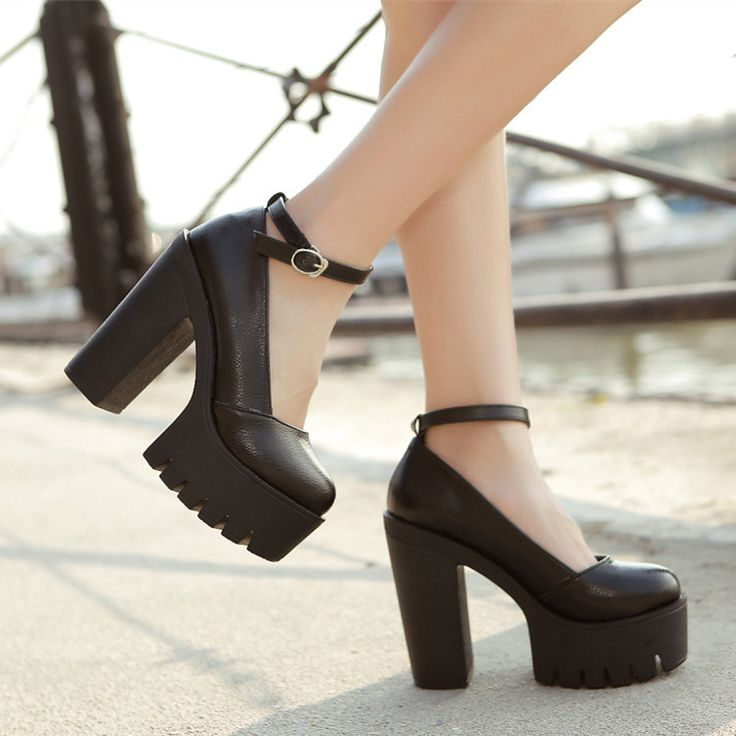 Free shipping 2015 new spring ladies footwear casual thick heels platform shoes for girls Black and White Size 35 to 39