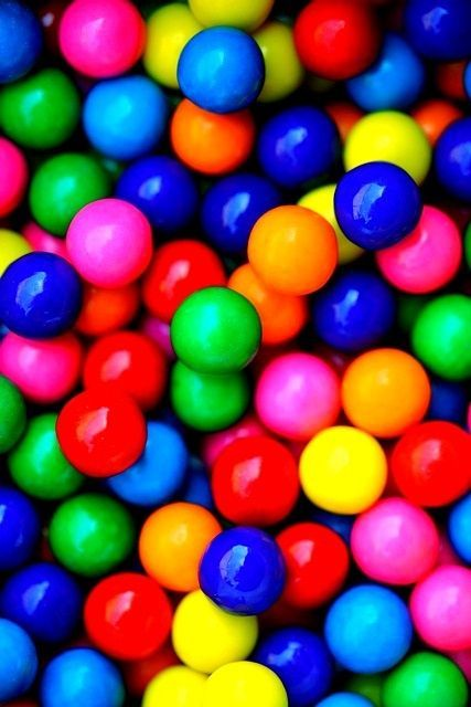 Bright colored gumballs.