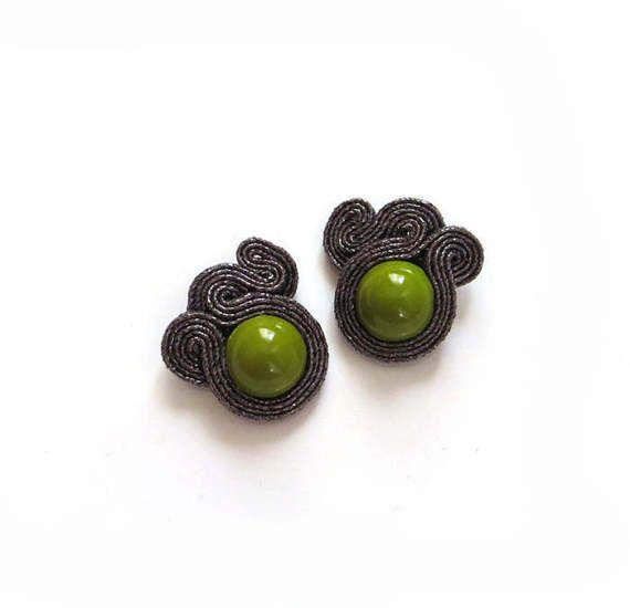 Small black khaki earrings soutache earrings small by sutaszula