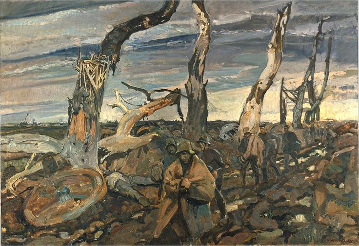 Official Art - German Prisoners by Frederick Varley | Canada and the First World War ~ As an official Canadian war artist, Frederick Varley, a future member of the Group of Seven, painted many scenes on the Western Front. Here, German prisoners walk along a rocky road past rows of dead trees, debris, and bodies.