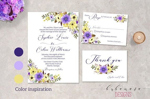 Purple Floral Wedding Invitation Printable Lavender Yellow