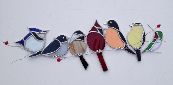 The familiar backyard visitors unite as a gang of canadian birds on my popular wire branch series of birds. This is a new design amongst my