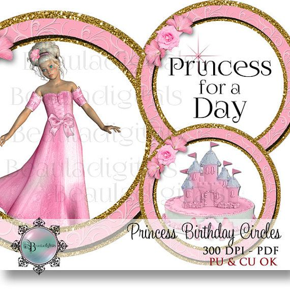 Princess Birthday Circles   Stickers  Tags  by Beauladigitals