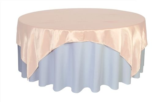 Bridal Tablecloths - 90 inch Square Satin Table Overlays Blush, $6.74 (http://www.bridaltablecloths.com/90-inch-square-satin-table-overlays-blush/)