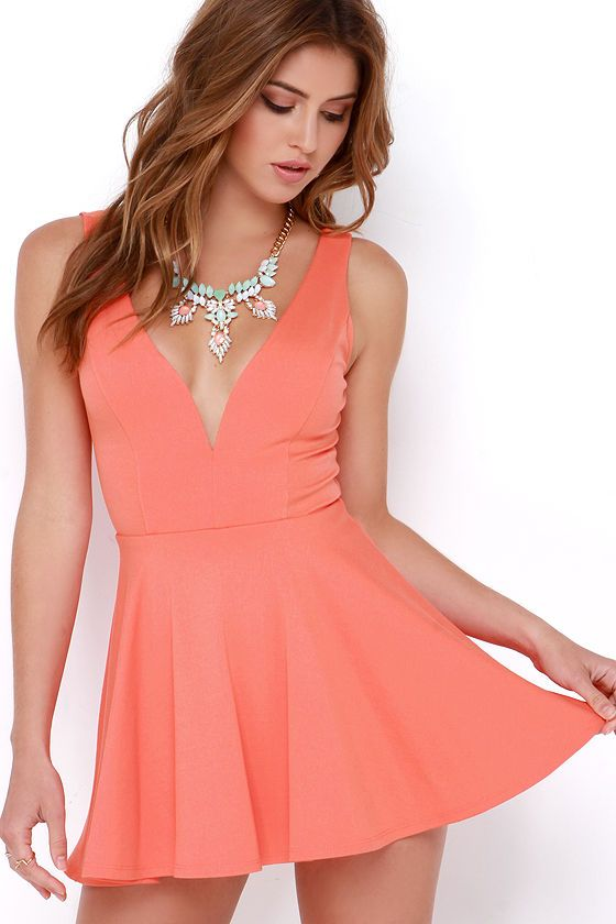 I Feel Good Coral Skort Dress at Lulus.com!