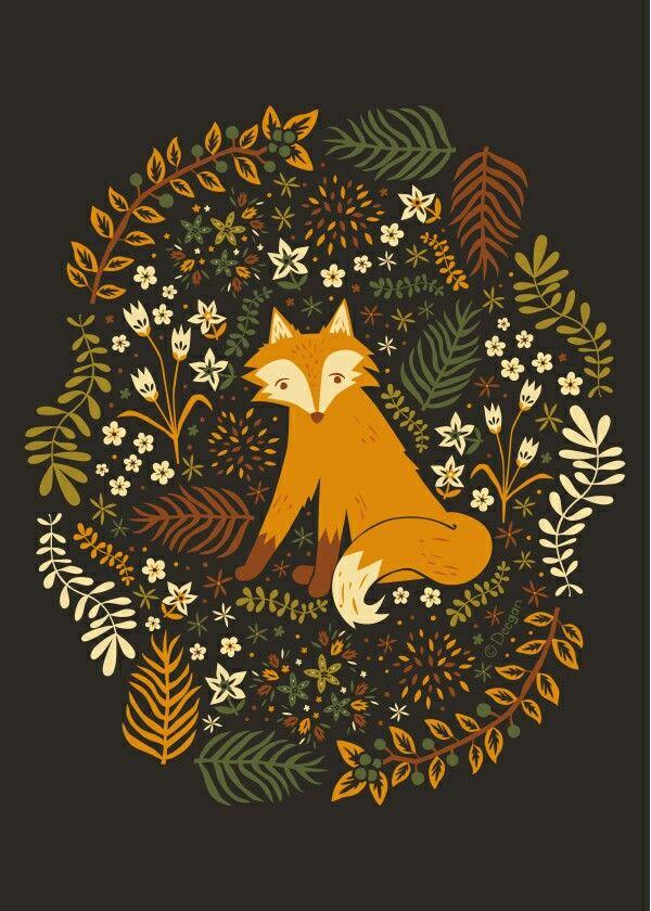 fox and wreath print woodland nursery