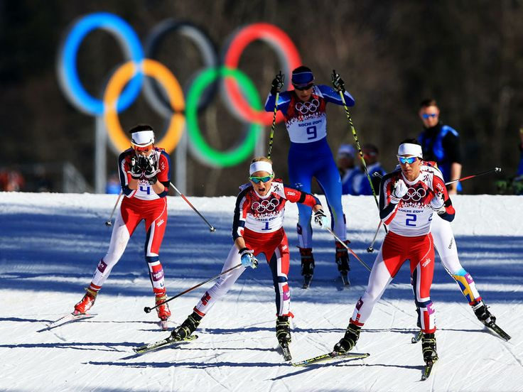 P&G - Window to the Winter Games - (R-L) Marit Bjoergen, Therese Johaug and Heidi Weng of Norway compete in the Ladies' Skiathlon 7.5 km Classic + 7.5 km Free during day one of the Sochi 2014 Winter Olympics at Laura Cross-country Ski & Biathlon Center on February 8, 2014 in Sochi, Russia. (Photo by Richard Heathcote/Getty Images)