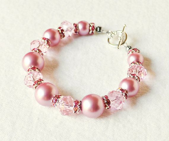 pink pearl bracelet handmade beaded jewelry in silver beaded bracelet swarovski pearls - Beaded Bracelet Design Ideas