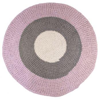Gehäkelter Baumwoll-Teppich altrosa/grau rund Ø 120cm