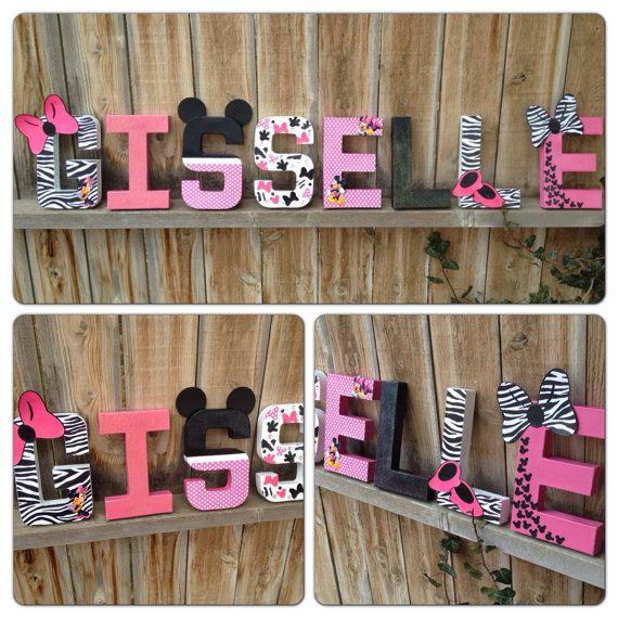 Custom Handmade Minnie Mouse Themed Nursery or Child's Room Letters, Teacher's Appreciation Gift, or Minnie Mouse Themed Party Centerpiece.