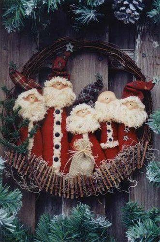 Moldes Para Artesanato em Tecido: Guirlanda de Papai Noel com moldes