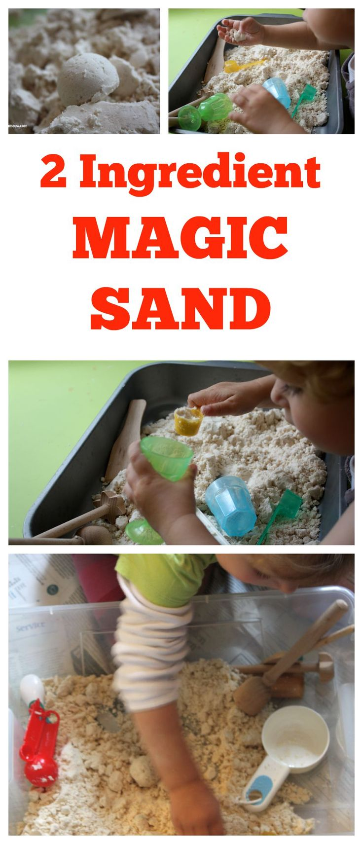 2 Ingredient Magic Sand. Easy and Cheap to make! Wonderful Play Material!