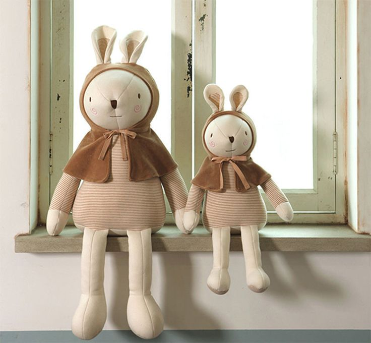 Bunny Rabbit Organic Doll Wearing Brown Cape Baby Skin Eco Safe Sleep Toy Doll #MINKELEPANG #DollswithClothingAccessories