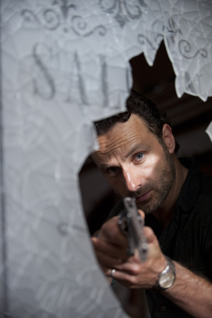 The Walking Dead - Andrew Lincoln as Rick Grimes You know when he tilts his head-- someone's fixing to die