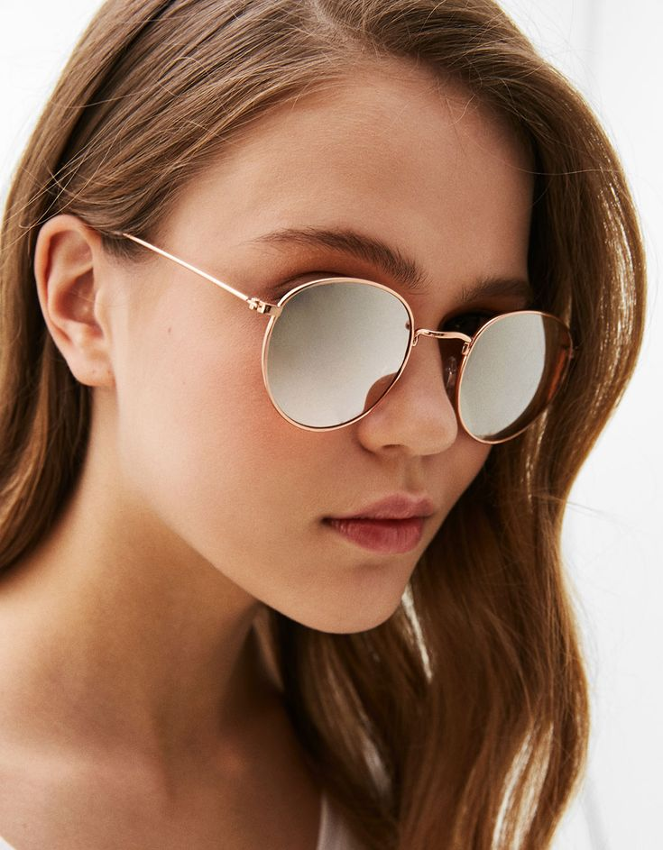 Classic metallic framed sunglasses - Glasses - Bershka Czech Republic