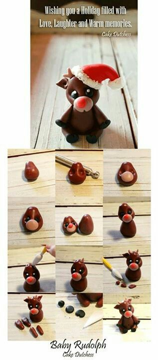 DIY Polymer Clay Baby Rudolph Tutorial - could also be made from sugar dough…