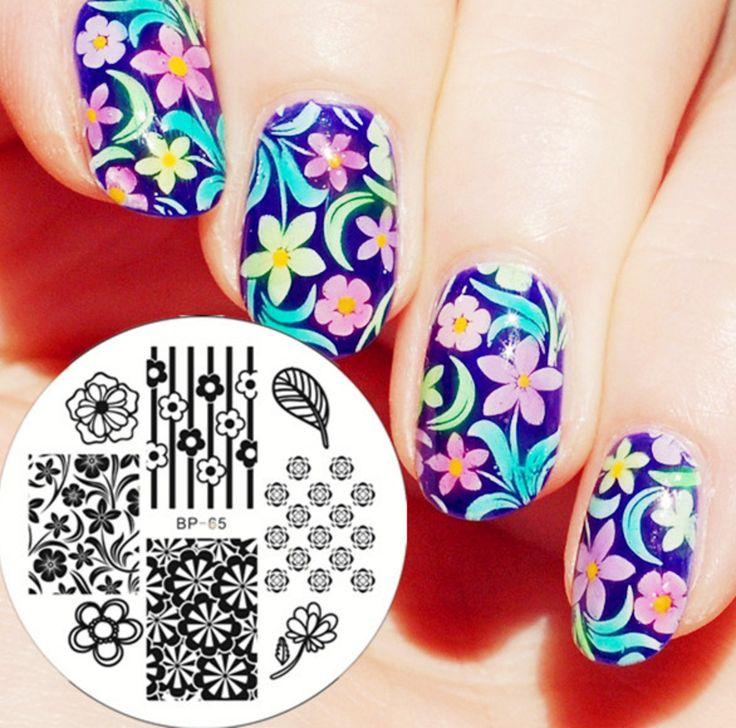 Floral Nail Art Stamping Template - BP65 # 20038